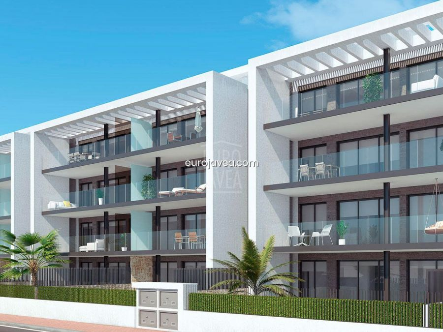 Residential of 23 exclusive apartments with 2 and 3 bedrooms, with parking space and storage room for sale in the Arenal area of Jávea.