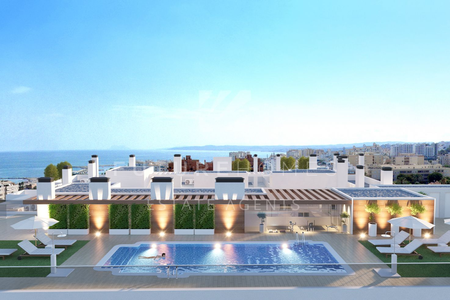 New modern development in Estepona centre, just 150 meters from the beach with parking and swimming pool