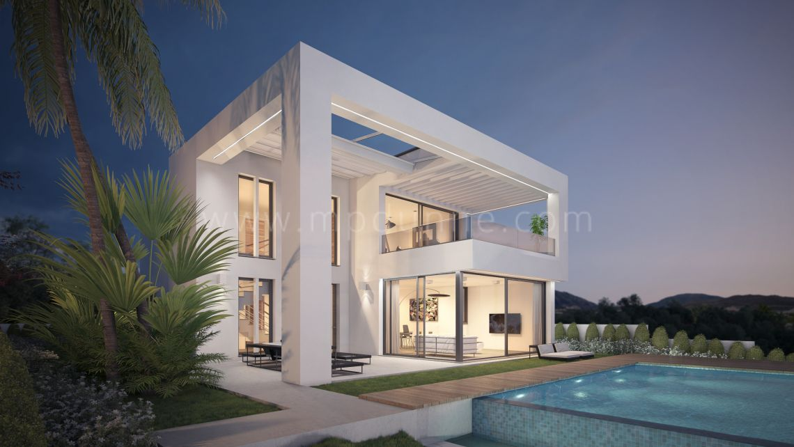 Mijas, New beautiful modern villa under construction in Mijas