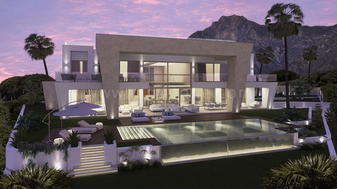 Marbella Golden Mile, Ultra Modern Designer Villa under construction in Sierra Blanca Marbella