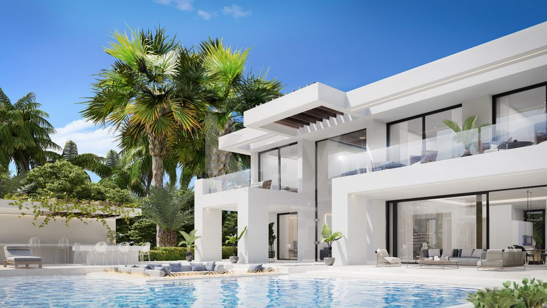 Contemporary villa for sale with sea views in gated community, New Golden Mile