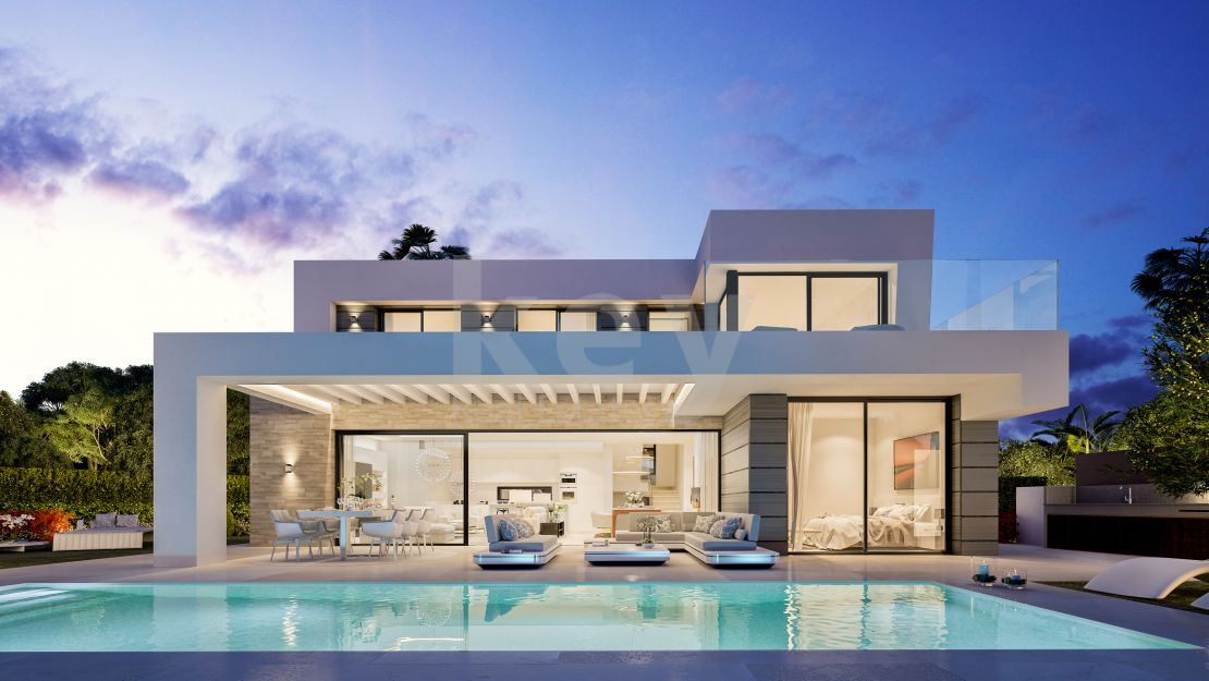 Contemporary villa for sale with sea views in a gated community, Marbella East