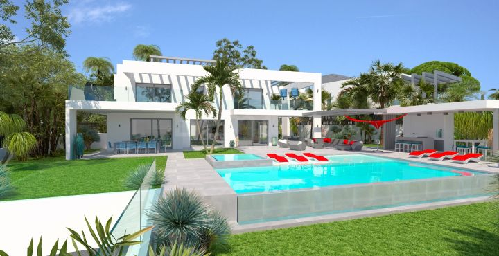 Beach side contemporary villa with sea views in Marbesa, Marbella East