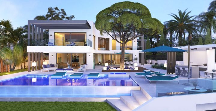 New build 6 bedroom beach side villa with sea views in Marbesa, Marbella East