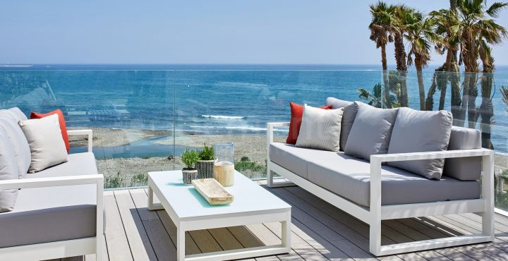 Contemporary beach townhouse for sale in Estepona Playa, Marbella West