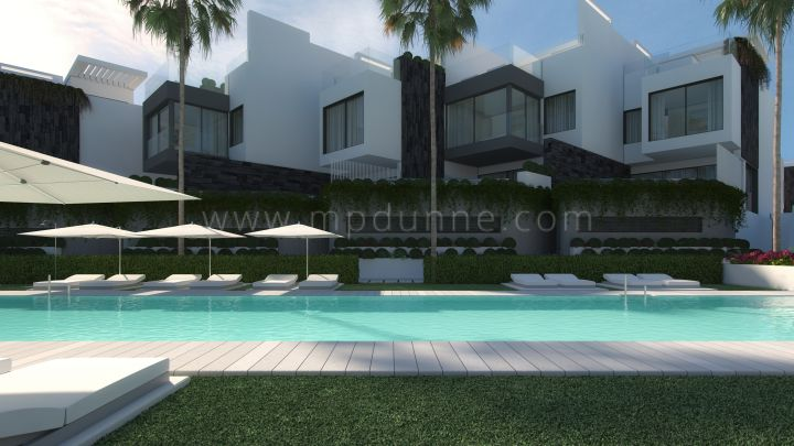 Estepona, Modern Contemporary Front line Beach Semi detached houses in Estepona