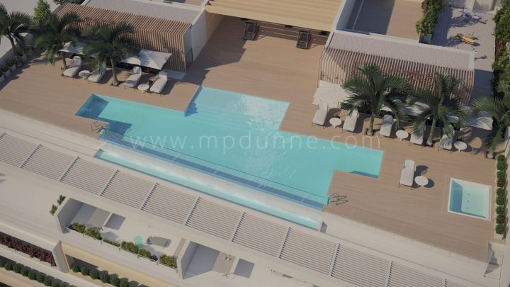 Estepona, New off plan frontline beach modern penthouse in Estepona town