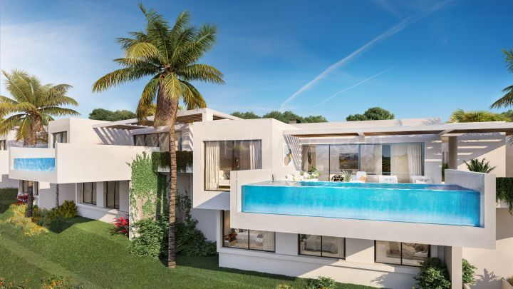 Benalmadena, Modern off-plan villa, havsutsikt i en privat gated community.