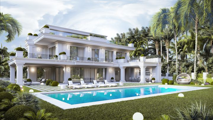 Marbella Golden Mile, Modern Villas under construction in Lomas del Marbella Club, Golden Mile