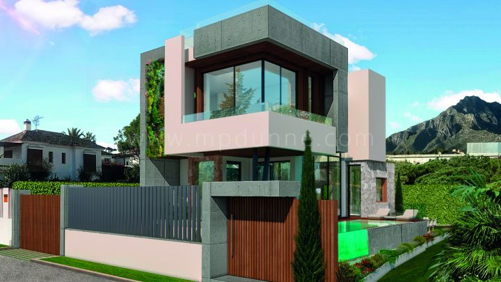 Marbella Golden Mile, Modern beachside villas under construction in Casablanca, Marbella