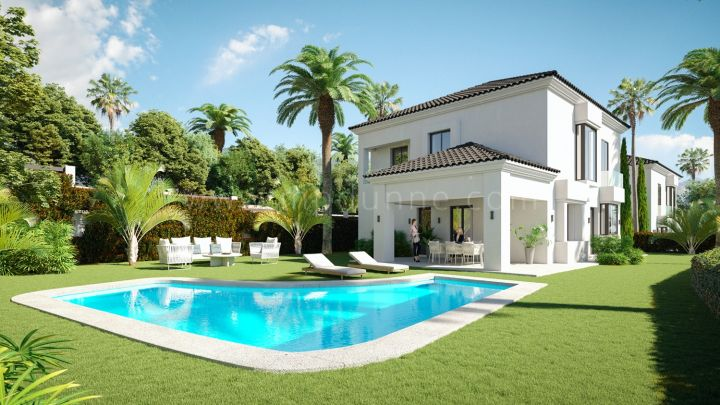 Marbella East, Villas under construction frontline golf Santa María, Elviria
