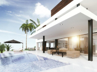 Marbella, New contemporary style villa for sale in the Nueva Andalucia Golf Valley with sea views