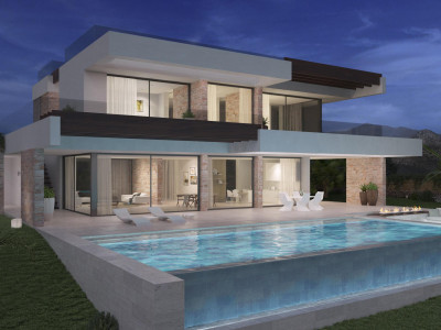 Estepona, New front line golf villa project with stunning lake and sea views