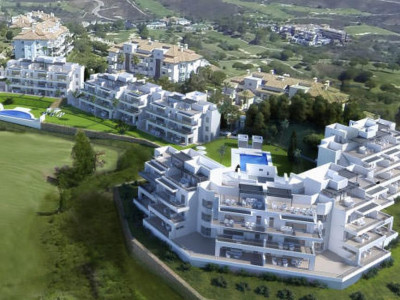 Mijas Costa, New frontline golf apartment in Mijas Costa on the Costa del Sol with panoramic sea views
