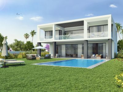 Private residential complex of 10 modern and distinguished villas on second line beach in Puerto Banús