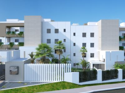 Unique 2 and 3 bedroom apartments with big South facing terraces across from Puerto Banús