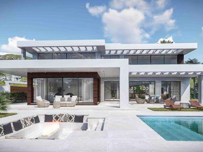 Villa moderna con vistas al mar, urbanización exclusiva de Marbella