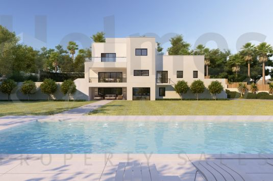 Double plot for sale in Sotogrande Costa with an existing structure partially remodeled and plans for multiple options.