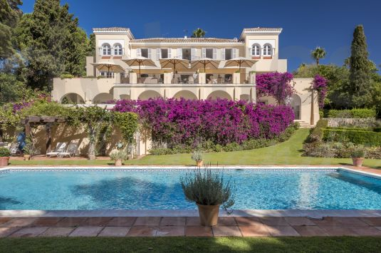 Magnificent 3 storey villa set amongst cork trees in a quiet part of Sotogrande Costa overlooking the 7th fairway of Sotogrande Royal Golf course.