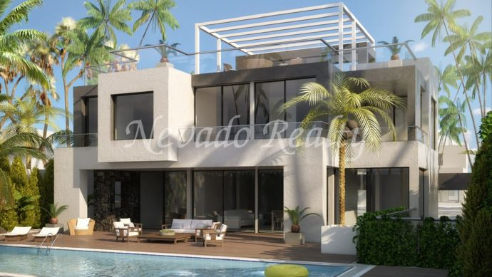 Magnificent under construction villa on the beach in quiet and private urbanization