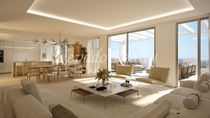Brand new! Ample luxury penthouse for sale with amazing panoramic views in Nueva Andalucía, Marbella
