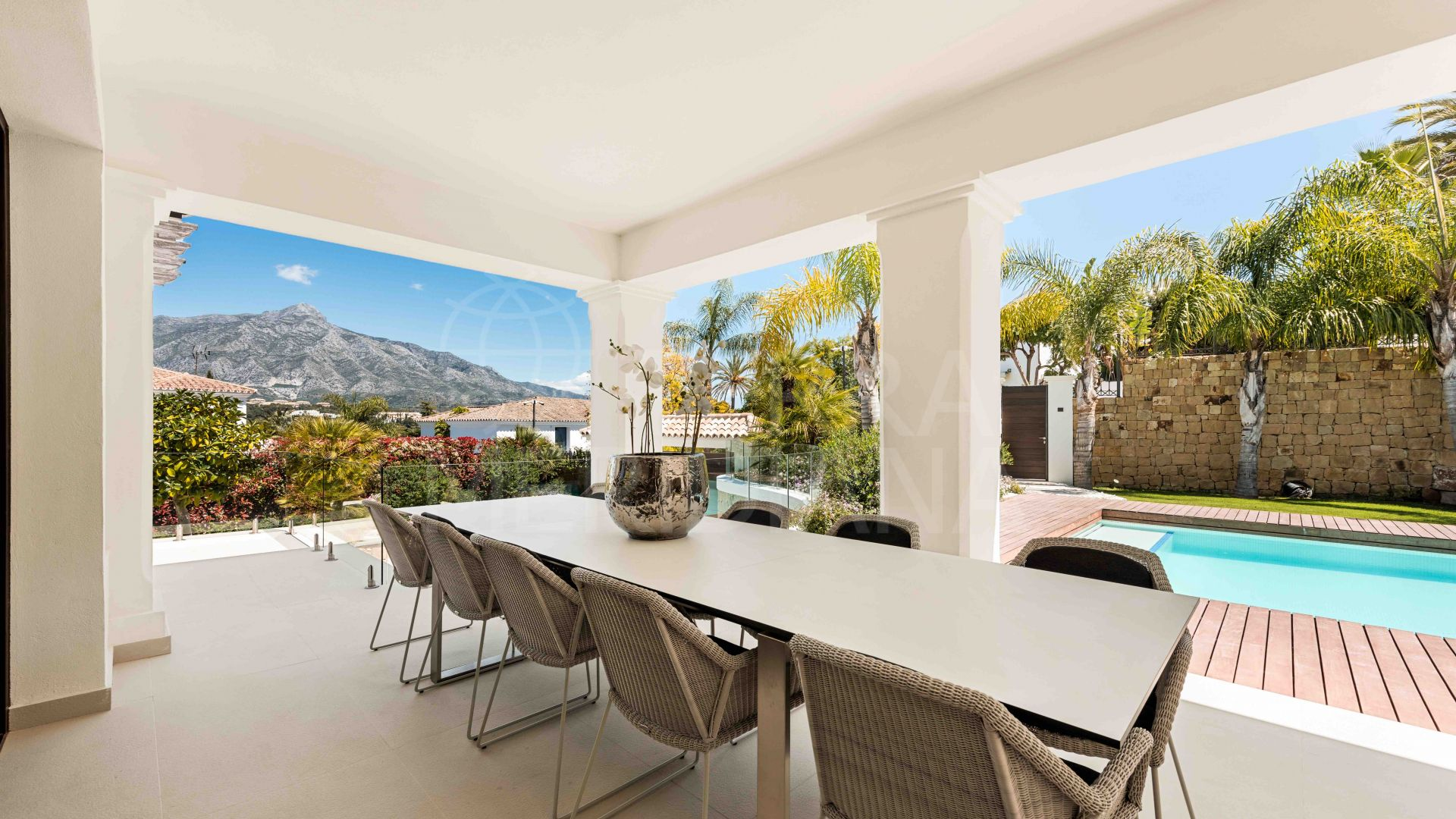 Timeless contemporary villa with deluxe spa and scenic mountain views for sale in Las Brisas, Nueva Andalucia, Marbella