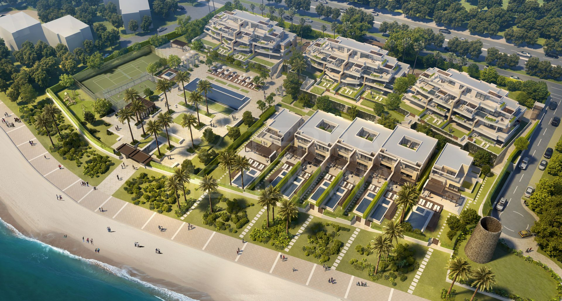 Contemporary off-plan duplex penthouse with studio for sale in the seafront development of Velaya, New Golden Mile, Estepona