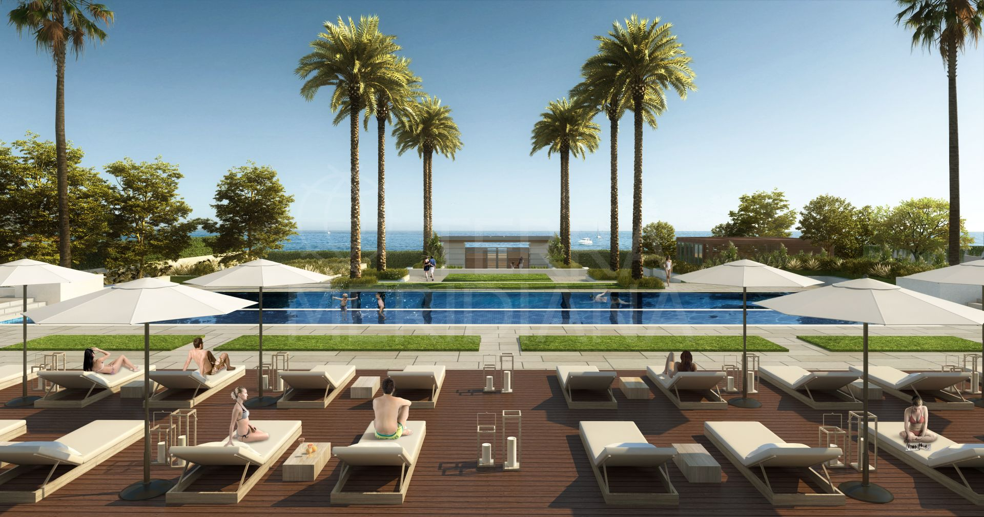 Off-plan beachfront contemporary townhouse with studio and private pool for sale in Velaya, New Golden Mile, Estepona