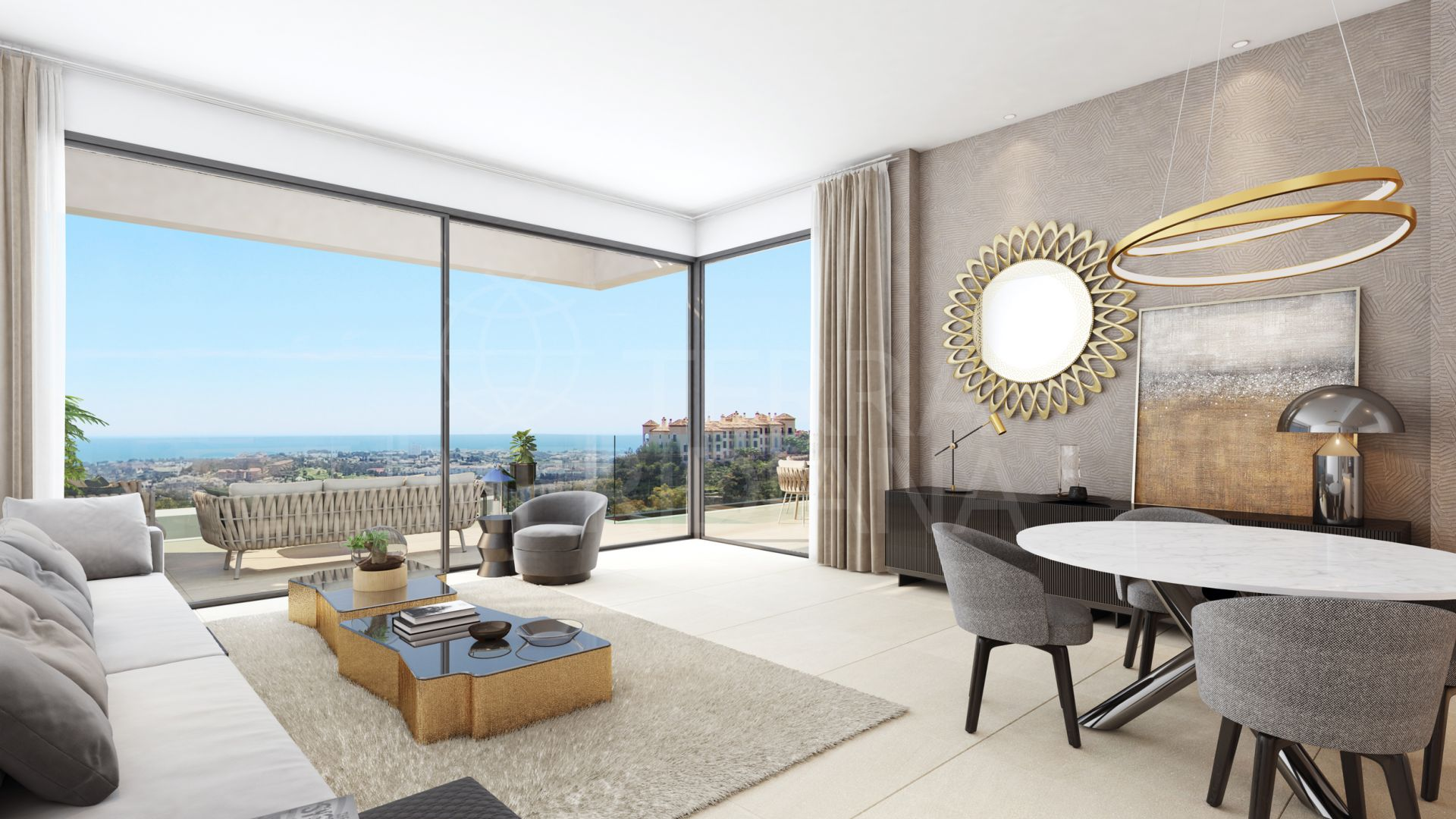 Stunning off plan first-floor apartment with sea views for sale in Aqualina Residences, Benahavis
