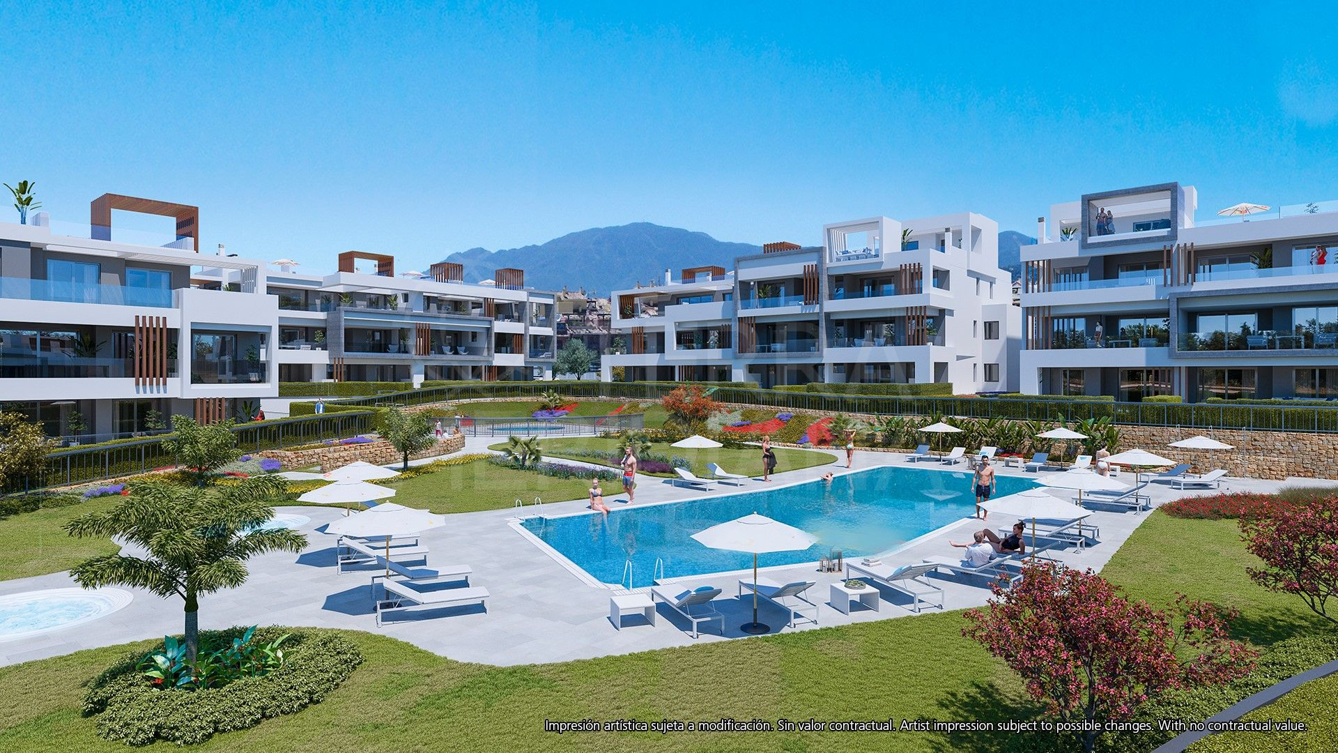 Chic off-plan first-floor apartment with a stylish modern interior for sale in Los Miradores del Sol, Estepona