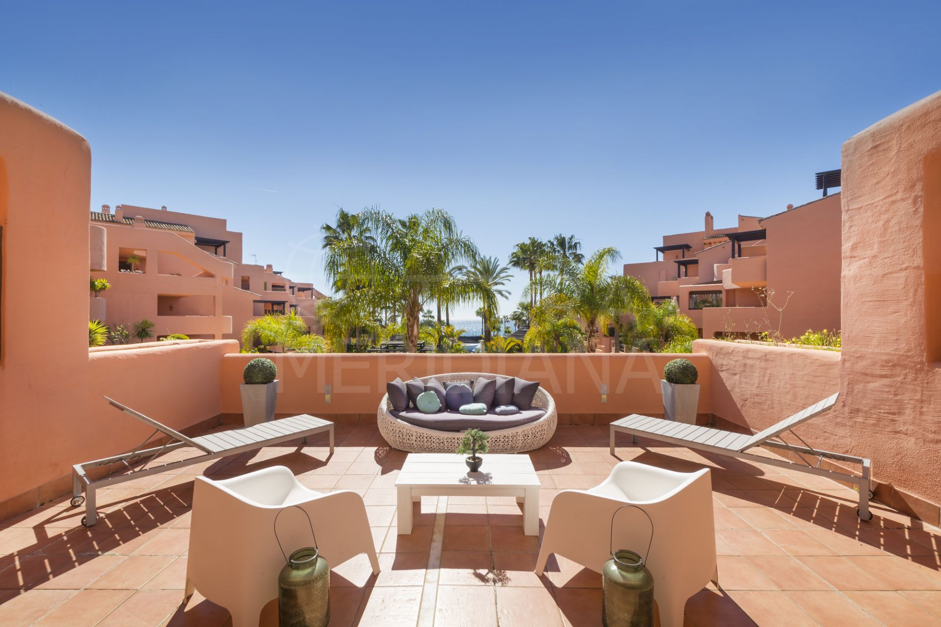 Mediterranean style 2 bedroom penthouse apartment for sale, front line beach in Mar Azul, Estepona