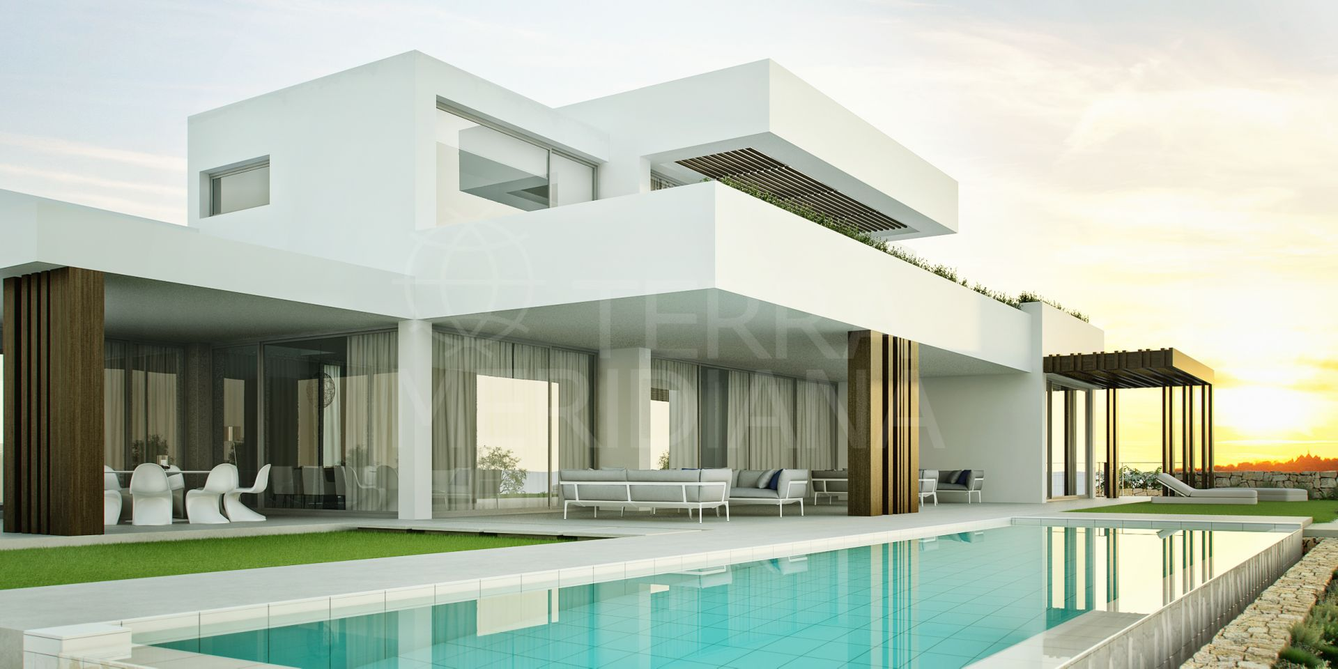 Off plan project for sale in La Reserva, Sotogrande, 6 bedroom luxury villa with garage, private pool and sea views