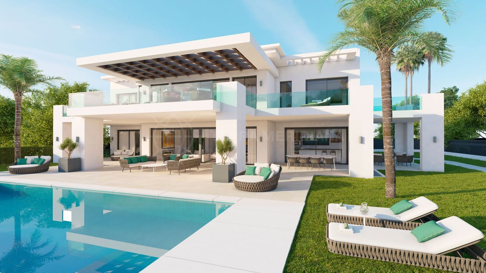 New build contemporary villa for sale with pool and for Pool villa design