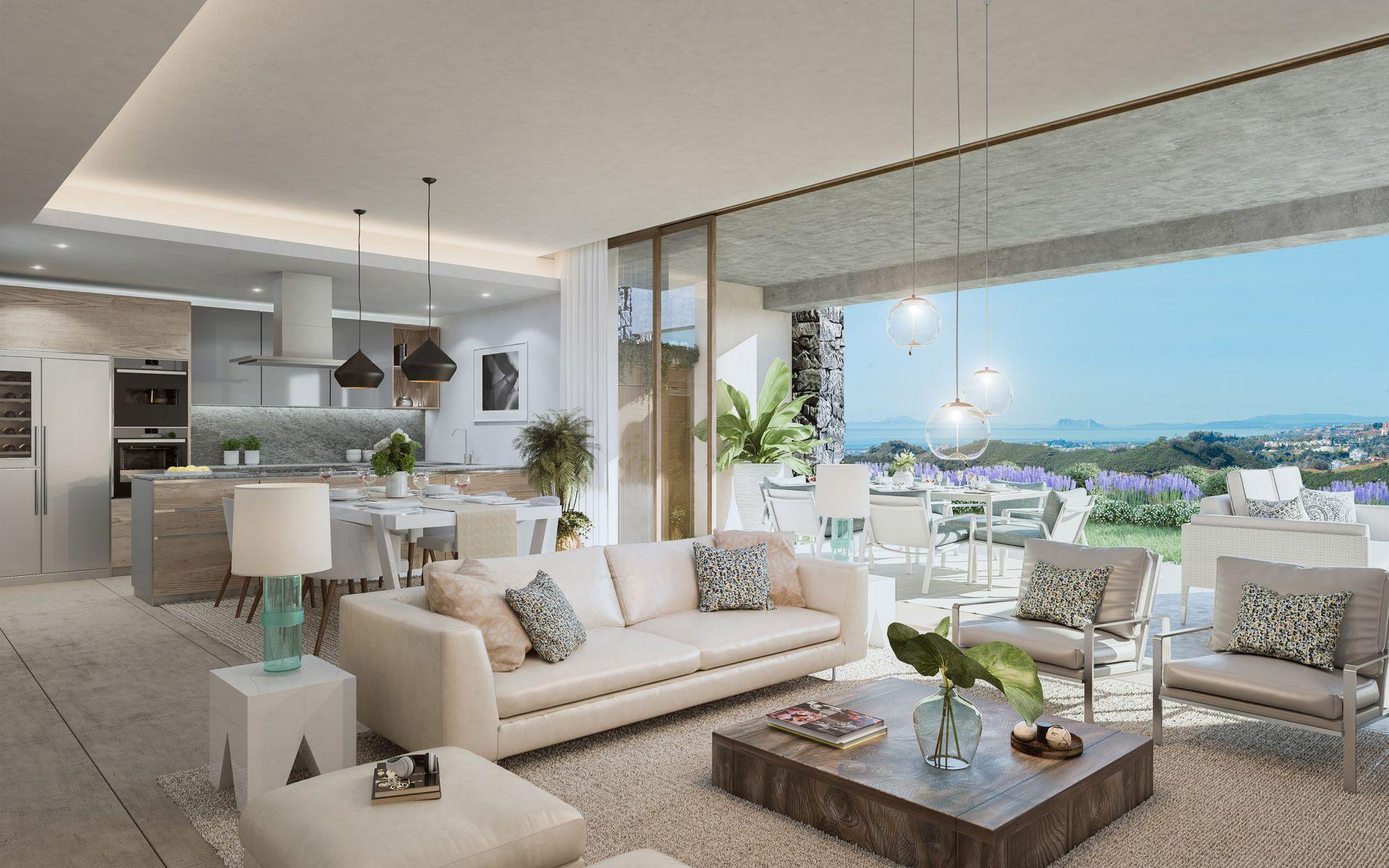 moderne wohnungen im einzigartigen design zu verkaufen in la quinta bei marbella. Black Bedroom Furniture Sets. Home Design Ideas