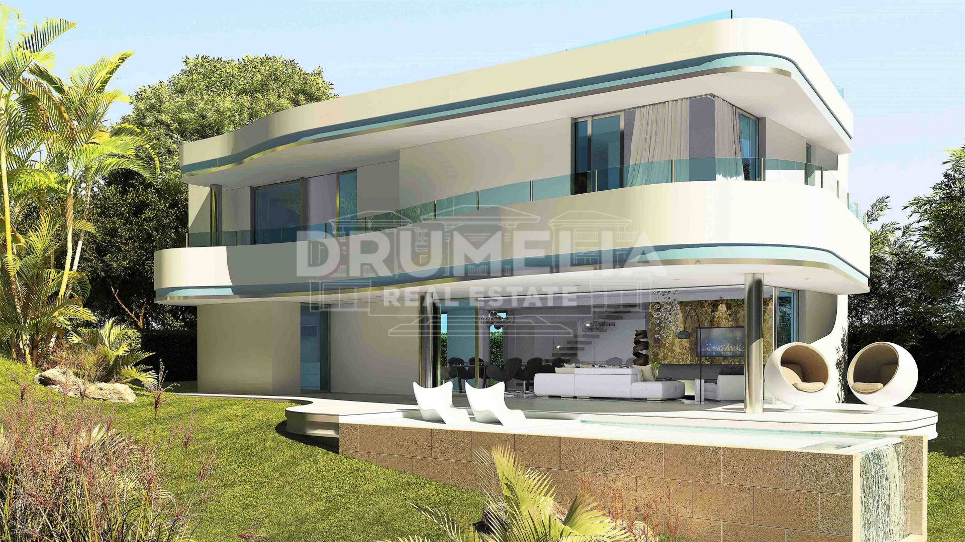 Estepona, Modern luxury villa under construction in a new complex in El Campanario, Estepona