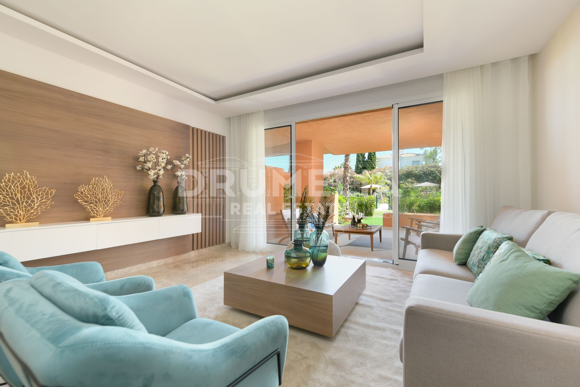 Nueva Andalucia, Sophisticated Brand-New Frontline Golf Modern Luxury Garden Level Apartment, Nueva Andalucía (Marbella).