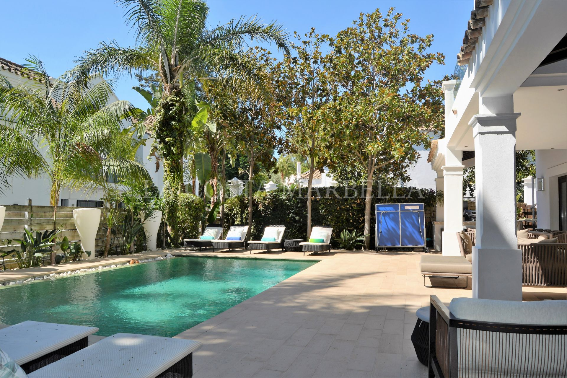Exquisite and very private Golden Mile sea side villa for rent in the world-famous Marbella Club