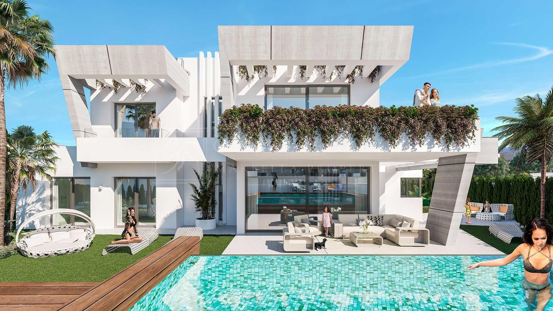 Modernas casas con piscina en la playa de Puerto Banús