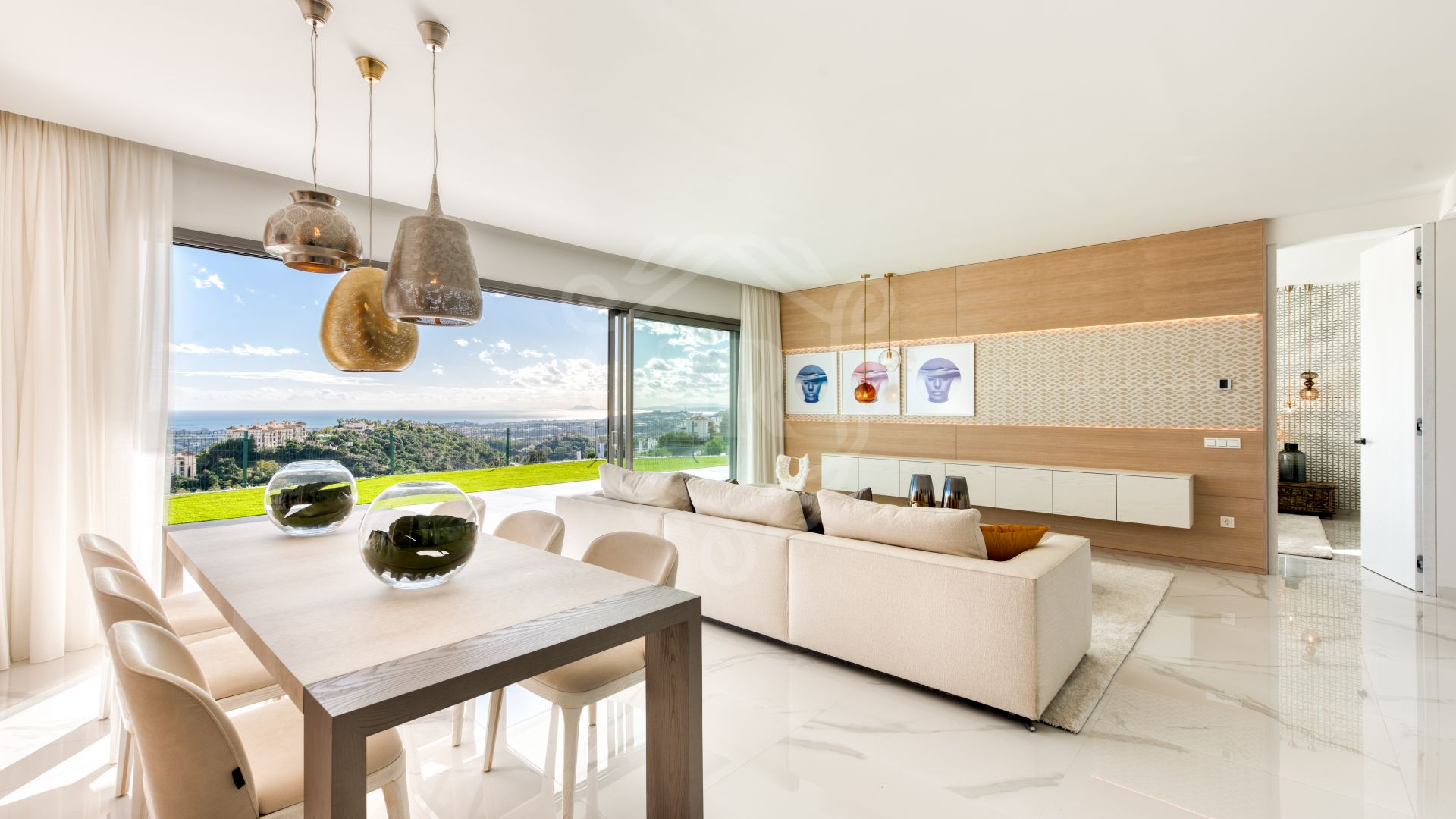 Stunning new elevated ground floor with private pool and panoramic sea and golf views