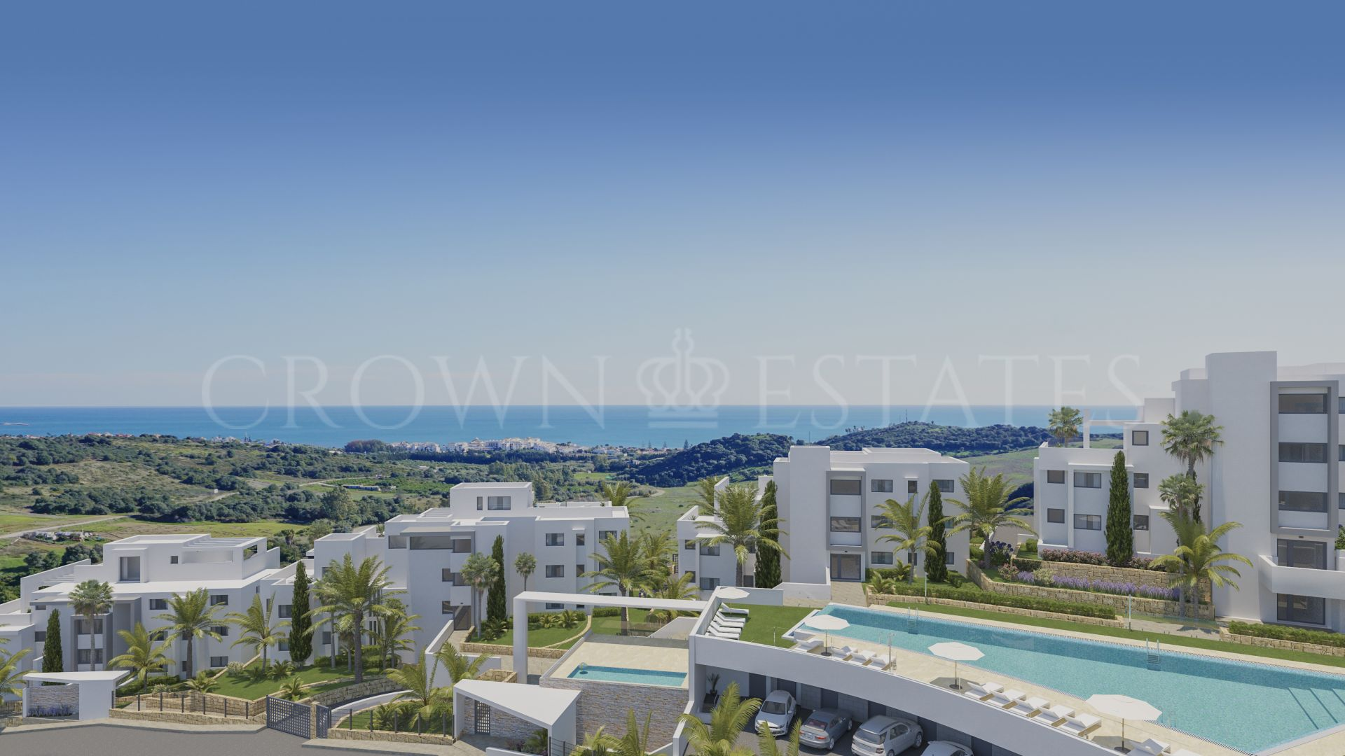 Contemporary apartments surrounded by golf