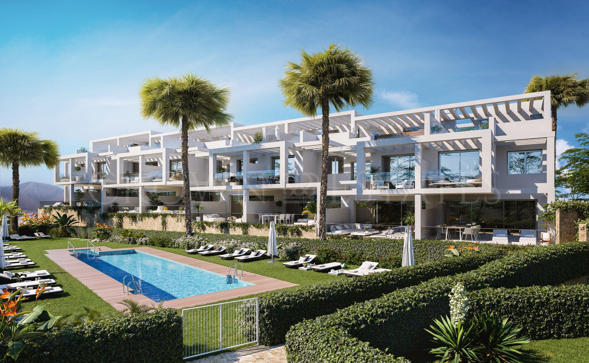Golden View II, contemporary style townhouses in Manilva
