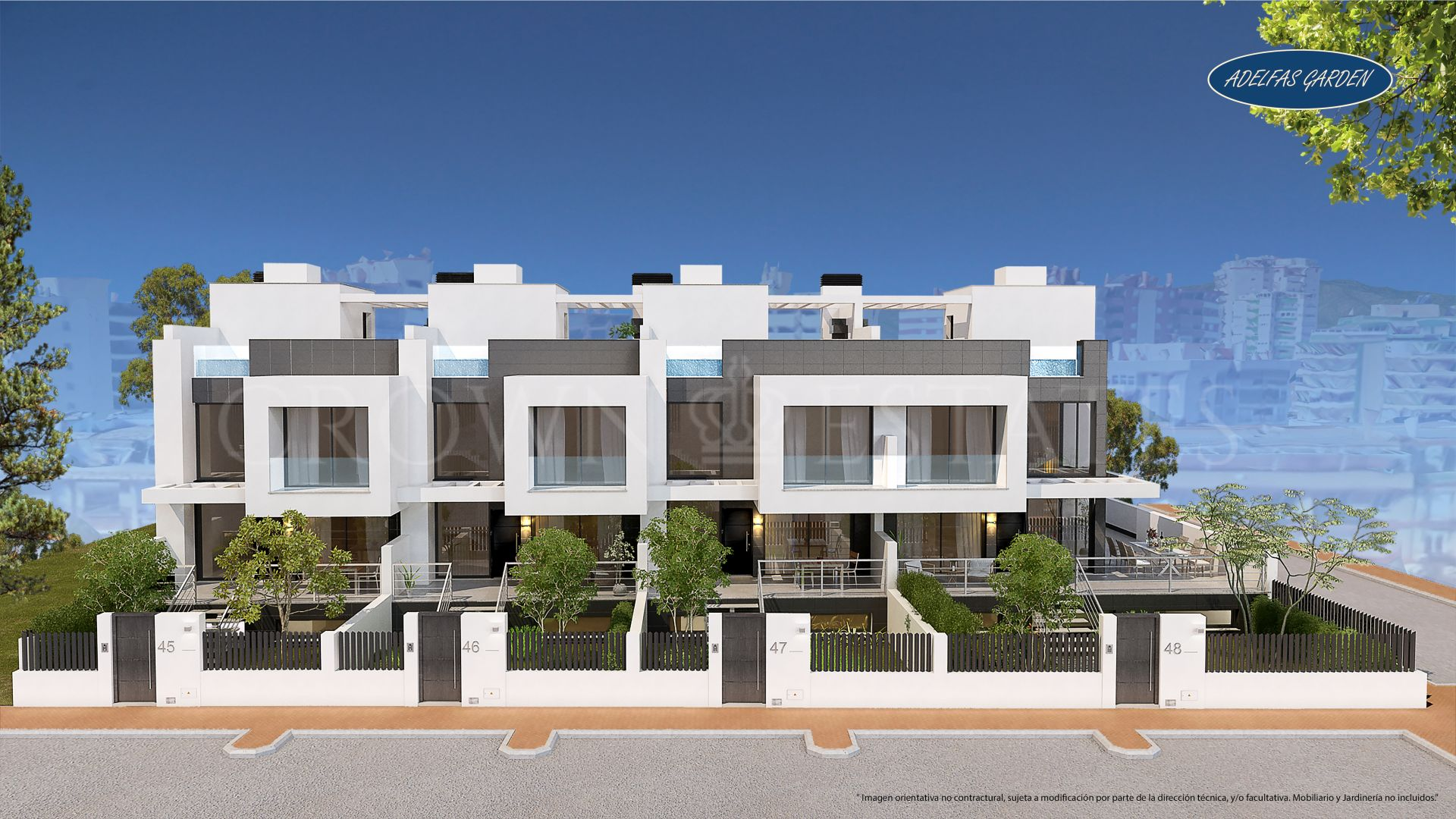 Adelfas Garden is a new boutique development of 4 unique single family townhouses in the center of Fuengirola and near the beach.