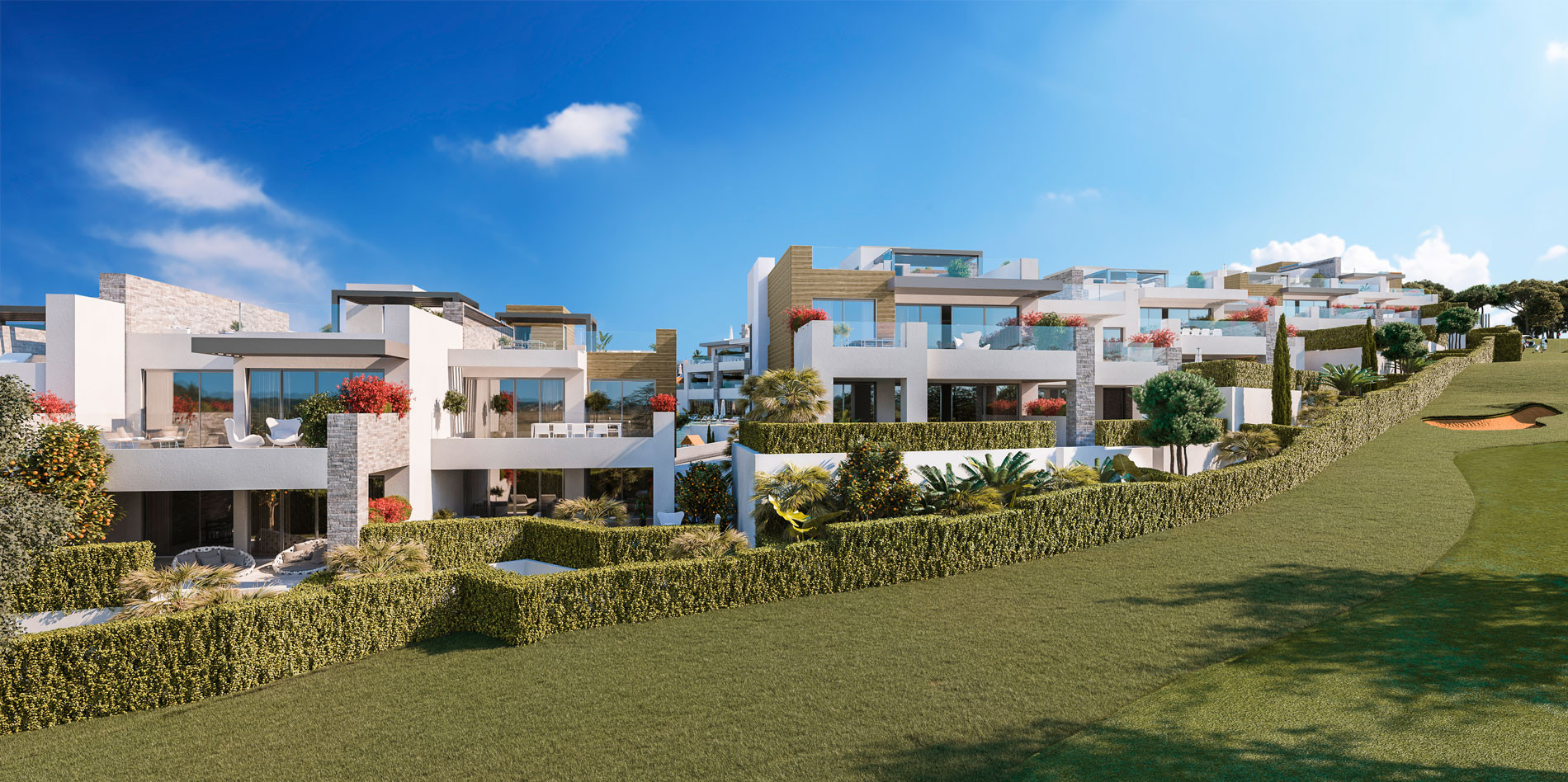 Modern contemporary front line golf apartments for sale in Cabopino – Marbella