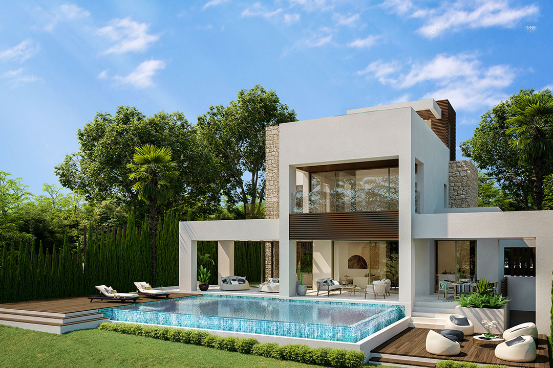 Complex of contemporary detached villas for sale in Marbella downtown - Golden Mile