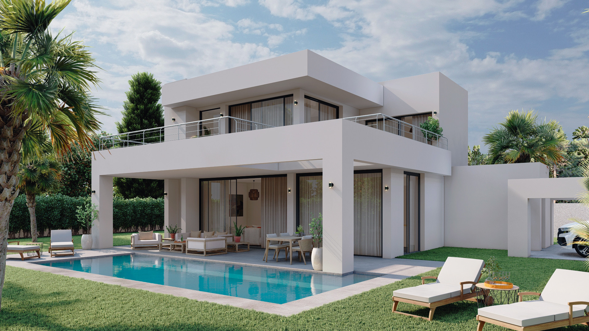 Complex of brand new modern contemporary beachside villas for sale in New Golden Mile