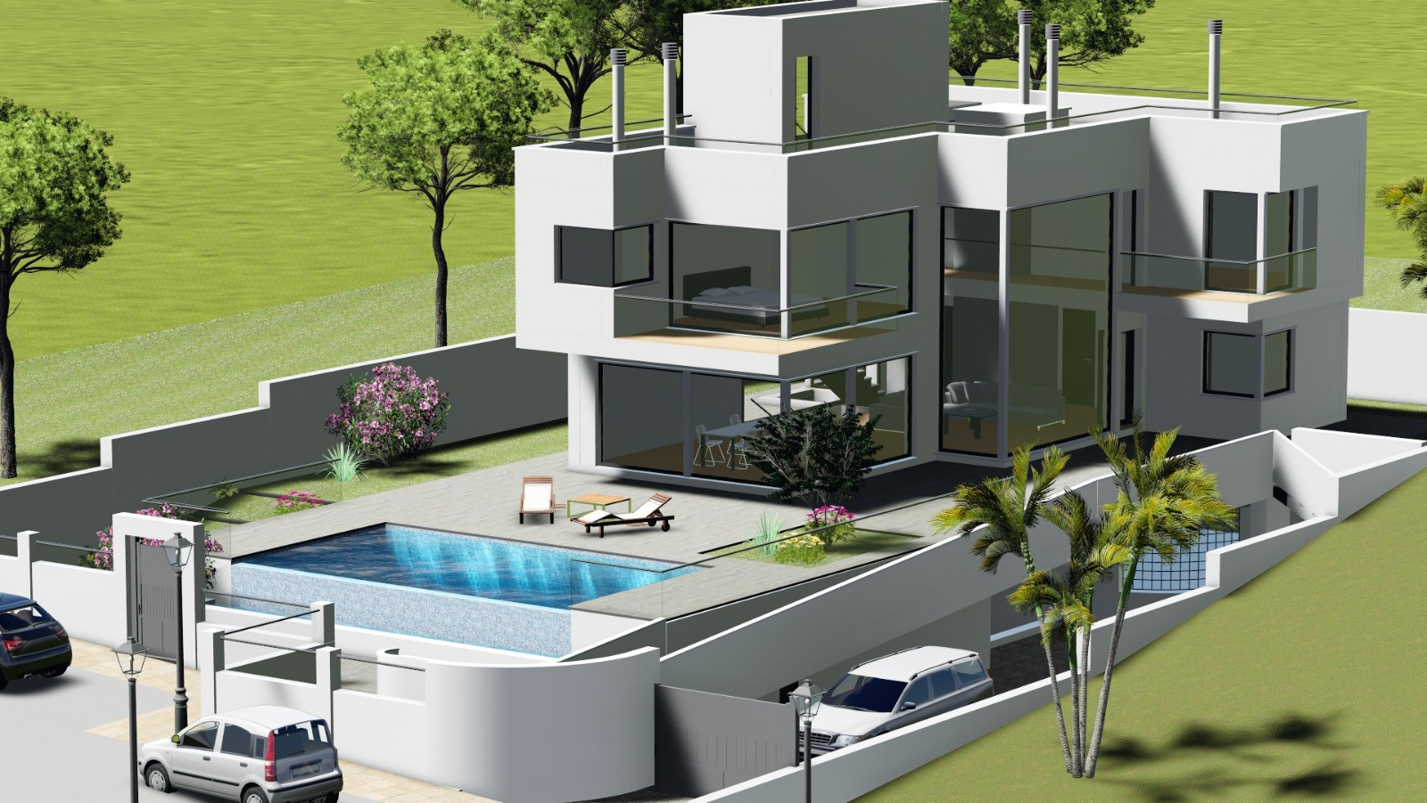Two modern golf luxury villas with infinity pool, basement and garage for sale in La Cala Golf Resort