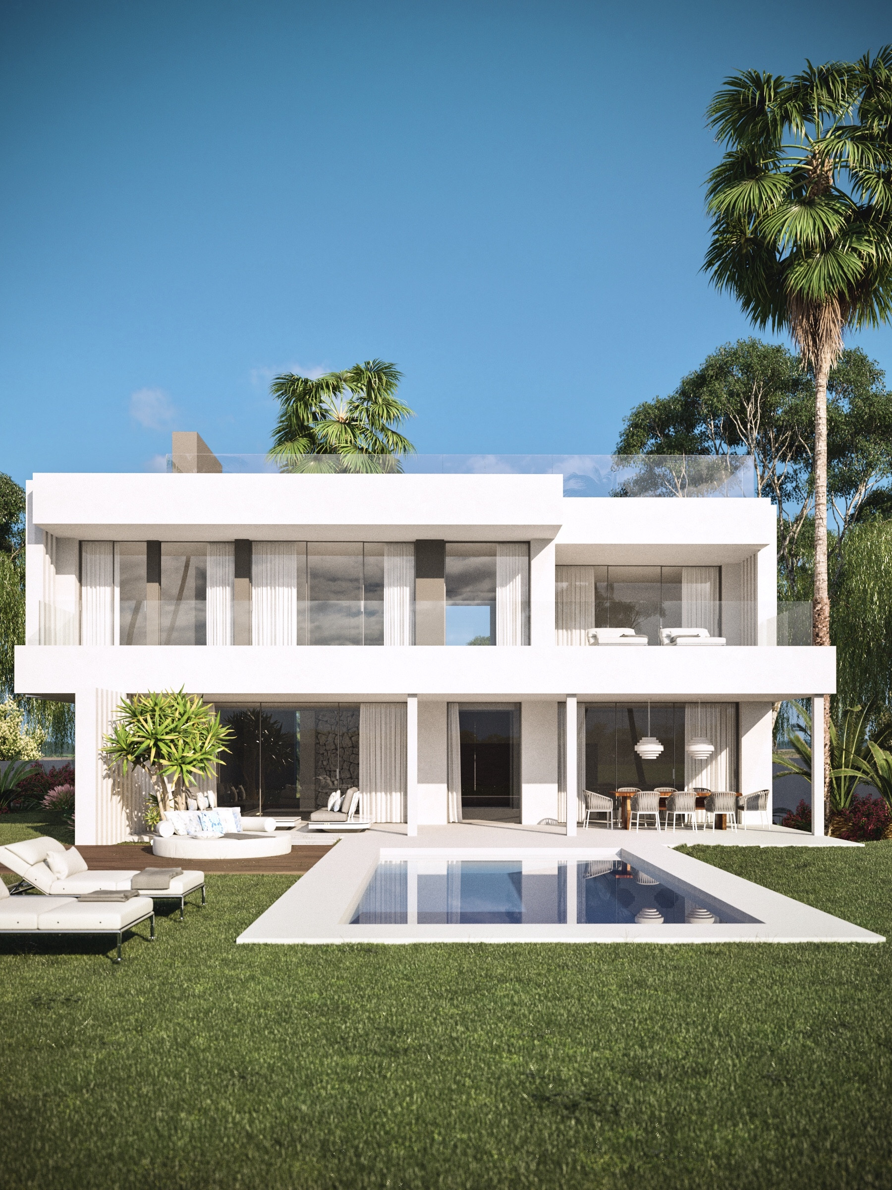 A development of contemporary villas for sale with excellent sea views in Estepona