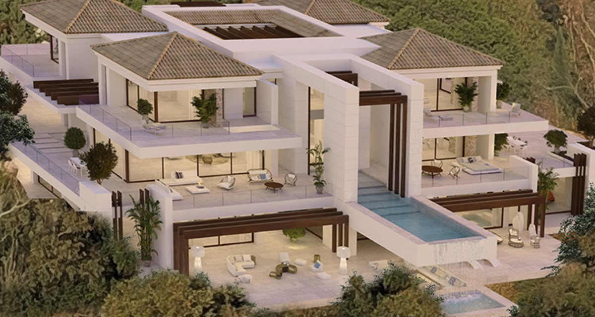 Stunning Off-Plan Modern Andalusian Style Villa For Sale With Panoramic Sea Views in Benahavis