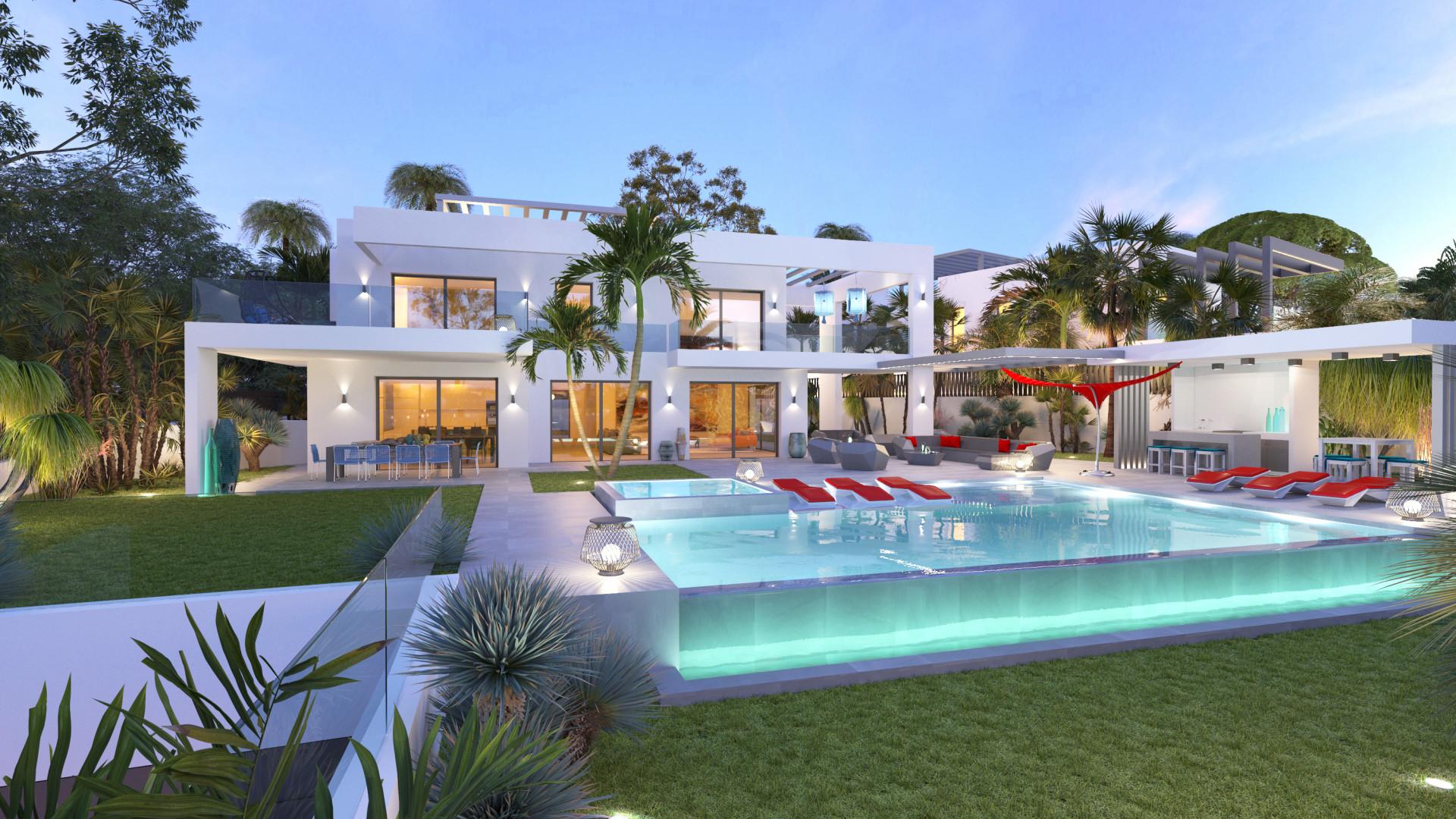 ARFV2174 - Zeitgenössische Villa in Strandlage mit Panoramablick zum Verkauf in Marbesa in Marbella