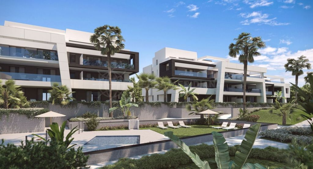 Estepona, Off plan contemporary apartments and penthouses for sale in Selwo Hills, Estepona with community pool and garage parking